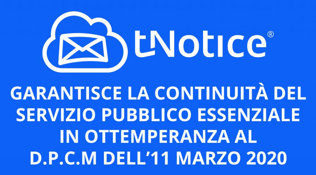 tNotice garantisce il servizio pubblico [COVID-19]